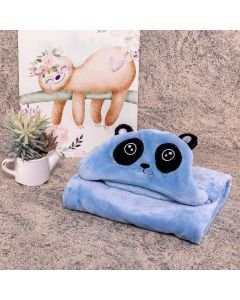 Cobertor Baby Flanel Com Capuz  - Panda Azul