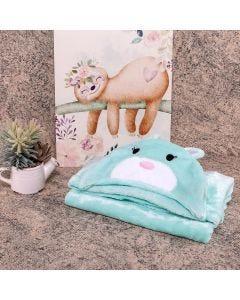 Cobertor Baby Flanel Com Capuz  - Coelho Acqua