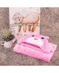 Cobertor Baby Flanel Com Capuz  - Coelho Rosa