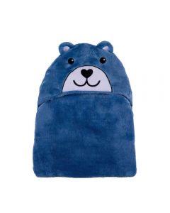 Cobertor Baby Flanel Com Capuz  - Urso Azul