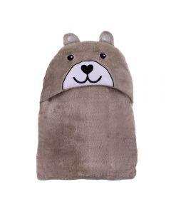 Cobertor Baby Flanel Com Capuz  - Urso Bege