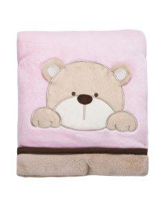Cobertor Bebê Bordado 75X100m Microfibra - Urso Rosa