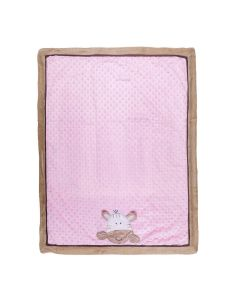 Cobertor Bebê Bordado 75X100m Microfibra - Zebra Rosa