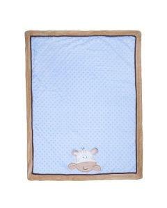 Cobertor Bebê Bordado 75X100m Microfibra - Zebra Azul