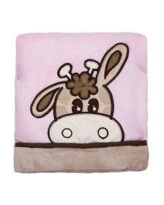 Cobertor Bebê Bordado 75x100m Microfibra - Girafa Rosa