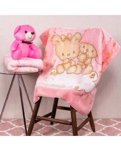 Cobertor Bebê 80x110 Raschel Estamp Yoyo Baby - Sleep Pink