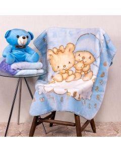 Cobertor Bebê 80x110 Raschel Estamp Yoyo Baby - Sleep Blue