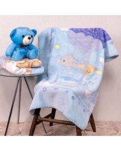 Cobertor Bebê 80x110 Raschel Estamp Yoyo Baby - Ballloon Blue