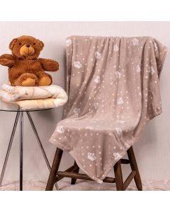 Cobertor Bebê Microfibra 90x100cm Yoyo Baby - Coroa Bege