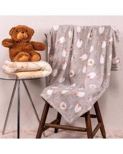 Cobertor Bebê Microfibra 90x100cm Yoyo Baby - Ovelha Cinza