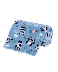 Cobertor Bebê Microfibra 90X100cm Yoyo Baby - Panda Balao Azul