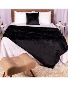 Cobertor Casal 180x220 Microfibra Flannel  - Preta