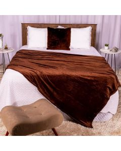Cobertor Casal 180x220 Microfibra Flannel  - Marrom