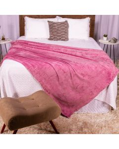Cobertor Casal 180X220 Microfibra Flannel  - Rose