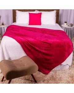 Cobertor Casal 180x220 Microfibra Flannel  - Fucsia