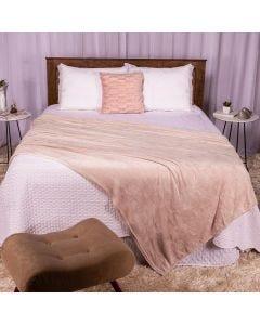 Cobertor Casal 180X220 Microfibra Flannel  - Crú