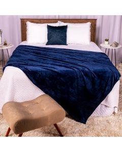 Cobertor Casal 180x220 Microfibra Flannel  - Marinho