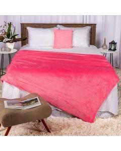 Cobertor Casal 180x220 Microfibra Flannel  - Chiclete