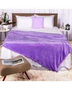Cobertor Casal 180x220 Microfibra Flannel  - Violeta