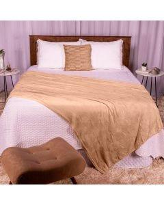 Cobertor Casal 180x220 Microfibra Flannel  - Bege
