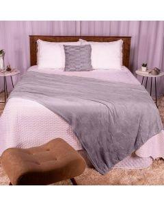 Cobertor Casal 180x220 Microfibra Flannel  - Cinza