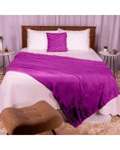 Cobertor Casal 180x220 Microfibra Flannel  - Uva