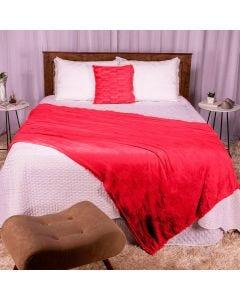 Cobertor Casal 180x220 Microfibra Flannel  - Vermelho