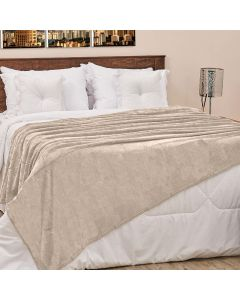 Cobertor Casal 180x220cm Microfibra Camesa - Bege