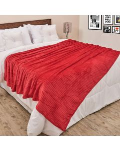 Cobertor de Casal 1,80x2,20m Canelado - Cereja
