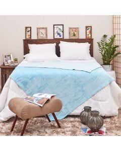 Cobertor Queen 2,20x2,40m Canelado - Azul Sky
