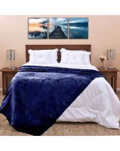Cobertor Queen 2,20x2,40m Patrícia Foster - Ornamento Marinho
