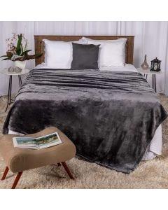 Cobertor Queen 220x240 Raschel Patricia Foster - Cinza