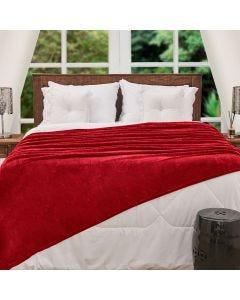 Cobertor Queen Flannel Microfibra Yaris - Vermelho