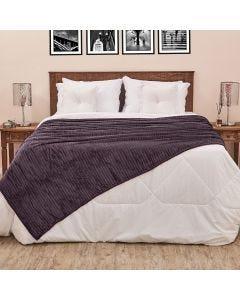 Cobertor Solteiro 1,60x2,20m Canelado - Chumbo