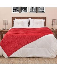 Cobertor Solteiro 1,60x2,20m Canelado - Cereja