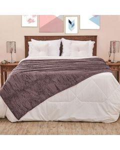 Cobertor Solteiro 1,60x2,20m Canelado - Cinza Chumbo