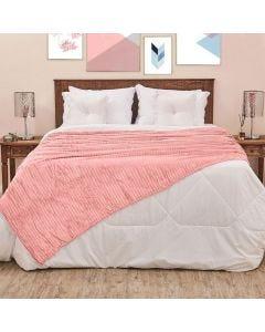 Cobertor Solteiro 1,60x2,20m Canelado - Salmão