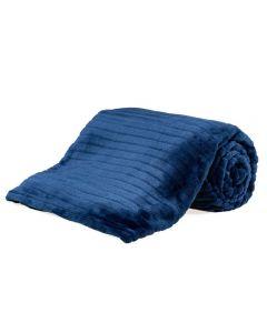 Cobertor Solteiro 1,60X2,20M Canelado - Marinho