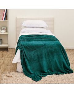 190c2e3410 Cobertor Solteiro Flannel Microfibra Yaris - Esmeralda