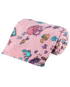 Cobertor Solteiro Kids Flannel Basic Andreza - Mermaid Pink