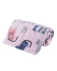 Cobertor Solteiro Kids Flannel Basic Andreza - Cats Happy Rosa