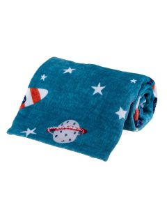 Cobertor Solteiro Kids Flannel Basic Andreza - Space Petroleo