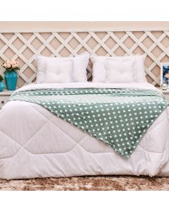 Cobertor Solteiro Microfibra Estampada Yaris - Poa Verde Mint