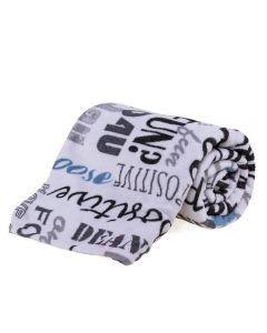 Cobertor Solteiro Microfibra Estampado Yaris - Escrito Cinza