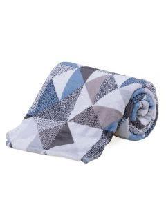 Cobertor Solteiro Microfibra Estampado Yaris - Mosaico Textura Cinza