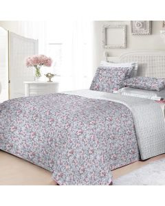 Cobre Leito Casal 3 Peças 160 Fios Matelassê - Decor Flores Rosas