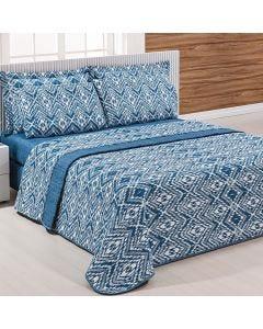 Cobre-Leito Queen 3 Peças 150 Fios Solecasa - Silver Azul