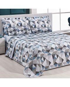 Cobre-Leito Queen 3 Peças 150 Fios Solecasa - Mosaico Textura Cinza