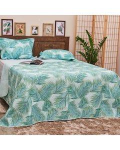 Cobre-leito Solteiro 2 peças 150Fios Solecasa - Tropical Foliage Verde