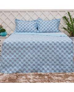 Cobre-leito Solteiro 2 peças 150Fios Solecasa - Bedeck Azul